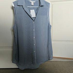 H&M Blue and white pinstripe sleeveless buttondown
